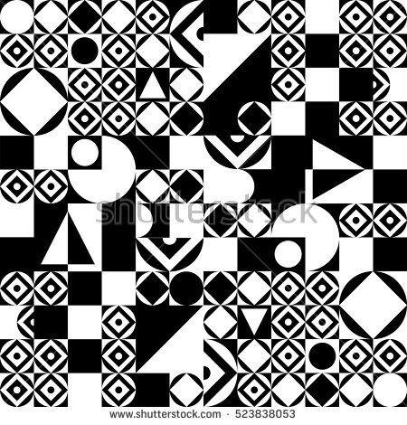 Decorative ornament. Black and white geometric pattern. Geometric background