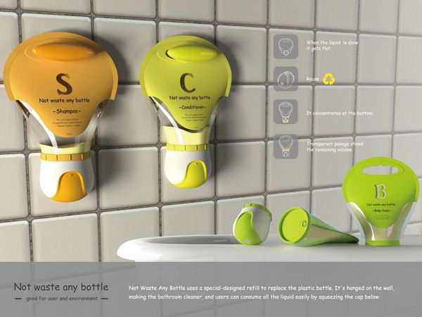 This Conditioner and Shampoo Bottle Design is Extremely Economical #bath trendhunter.com