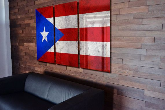 Puerto Rican Flag Poster Wall Art by LuxWallArt on Etsy