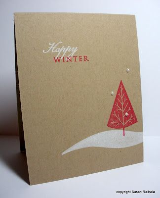 handmade Christmas card  by Susan R. Simplicity at its best. ... kraft card ... white and red stamping ... clean and simple ... well balanced ... great card!!