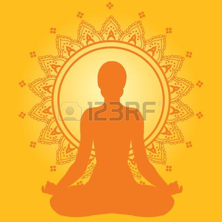 Meditando donna su sfondo giallo stile indiano Archivio Fotografico - 28525826