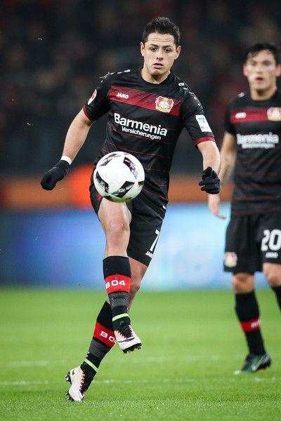 Chicharito of Leverkusen controls the ball during the Bundesliga match between Bayer 04 Leverkusen and FC Ingolstadt 04 at BayArena on December 18, 2016 in Leverkusen, Germany.