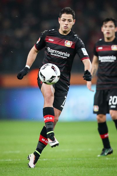 Chicharito of Leverkusen controls the ball during the Bundesliga match between Bayer 04 Leverkusen and FC Ingolstadt 04 at BayArena on December 18, 2016 in Leverkusen, Germany.