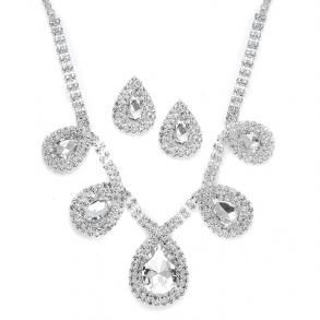 Rhinestone Necklace Set With Bold Pears  - $39.99