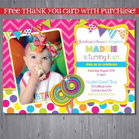 79 best images about Kaseys 1st birthday ideas – Candy Land Birthday Invitations