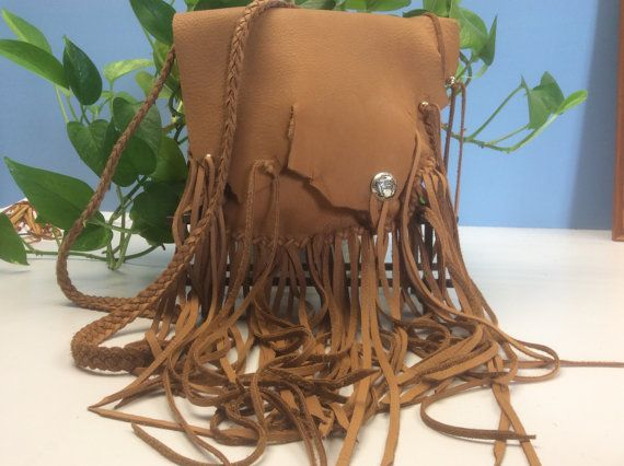 Fringed Leather Purse Handmade Dusk Cowhide Bag with Beads