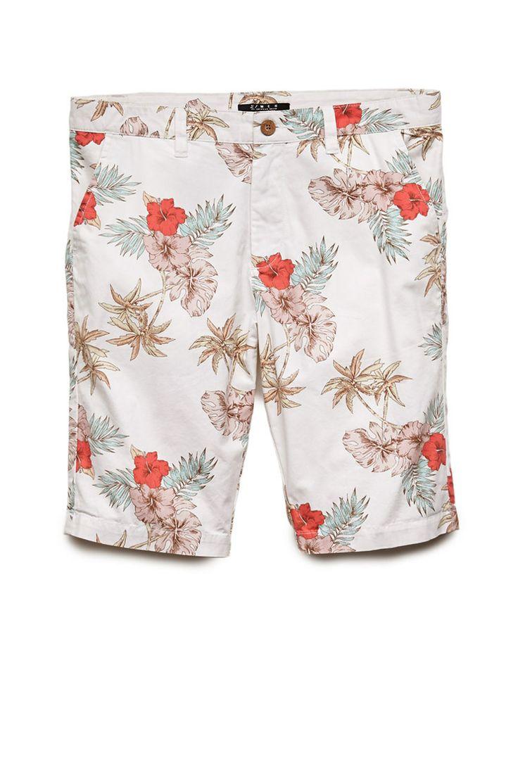 Aloha Print Chino Shorts   21 MEN #21Men