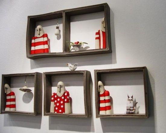 .modern ceramic story telling wall art boxes
