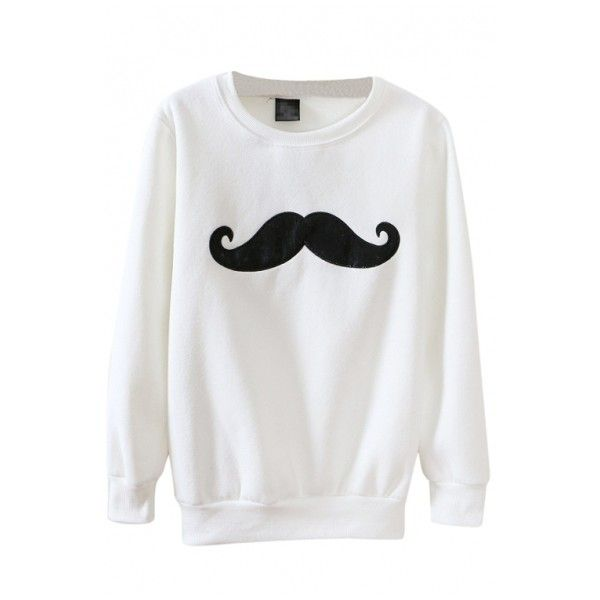 Round Neck Cartoon Mustache Embroidered Long Sleeve Hair Added... ($16) ❤ liked on Polyvore featuring tops, hoodies, sweatshirts, beautifulhalo, embroidered hoodies, embroidered sweatshirts, long sleeve hoodie, long sleeve tops and mustache hoodie