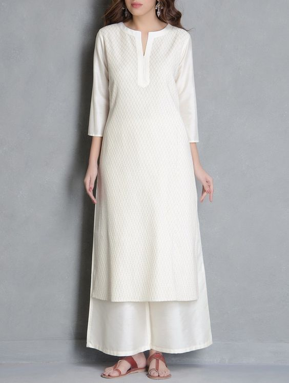 Buy Cream Pintuck Detailed Katan Silk Kurta Apparel Tunics & Kurtas Pretty Please! Palazzos Pants Online at Jaypore.com: