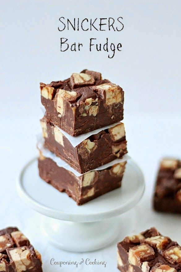 Snickers Bar Fudge- only 3 ingredients! {couponingncooking.com}