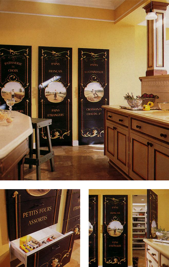 A kitchen's refrigerator and pantry doors are painted with murals inspired by antique French signs. Custom decorative molding further embellishes the doors. - Traditional Home, November 1999
