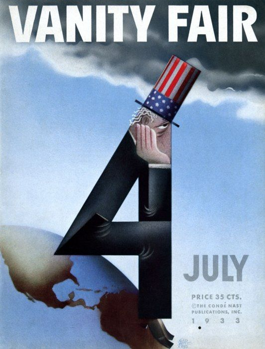 "Paolo Garretto, ""The Fourth of July's Uncle Sam"", July 1933 Vanity Fair. #symbol #number4 #composition"