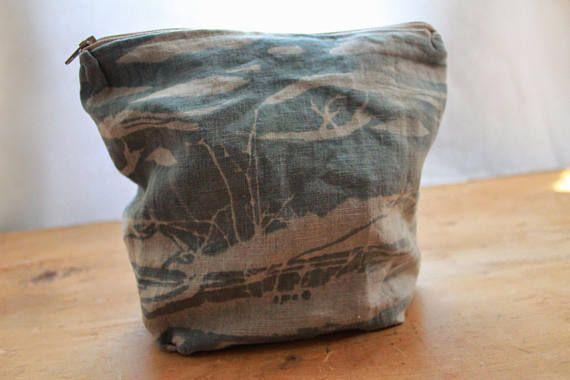 Handmade make up bag  linen screen printed blue & turquoise