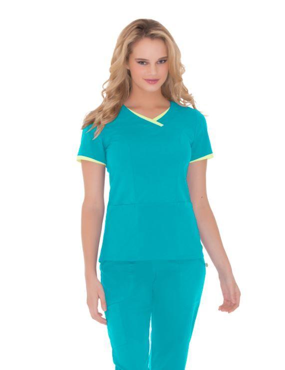 Urbane Essentials: 9007 V-Neck Tunic in Scuba with Pear trim #urbane #scrubs #medical #fashion #uniforms #hospital #nurse #rn #dental #tech #vet #spring #style #april