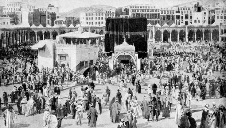 Pilgrims in 1920 at the Kaaba, Mecca, Saudi Arabia.    #Islam #Sufism #Esoterism #Mysticism #Spirituality #God #Religion #Allah