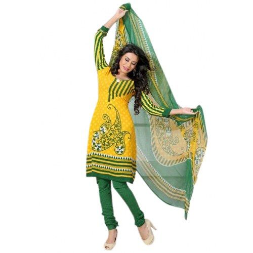 Yellow Printed Dress Material For Women - Salwar Suit by Variation Design