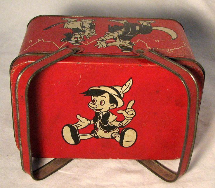 1930's lunch boxes | 1940 PINOCCHIO Luncbbox- Walt Disney Productions- RARE- Excellent ...