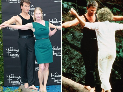 """Lisa Niemi unveiled a new wax statue of her late husband, and joined him in balancing on a log over an imaginary lake – recreating the famous scene from Dirty Dancing when Swayze teaches Jennifer Grey's character the importance of balance in dance. Two years after his death, Niemi was honored to unveil the statue. """"It became clear to me that someone had put a lot of love into this, for a man I loved so very much,"""" she said."""
