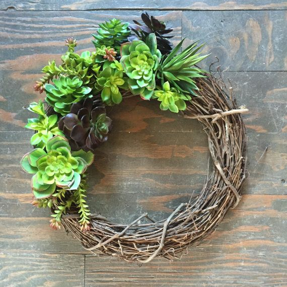 Faux Succulent Grapevine wreath by thewoodandthistle on Etsy