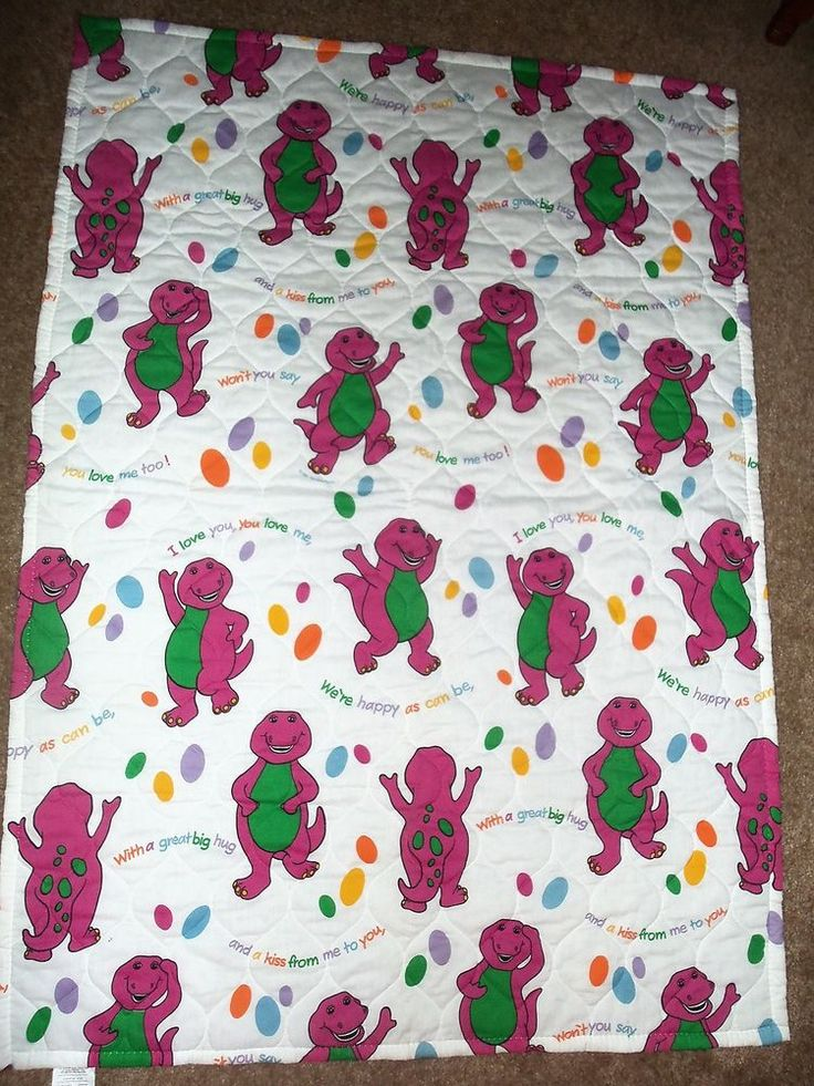 Barney The Dinosaur Quilt\Blanket, Baby Dreams, 1992, SUPER #Bibb
