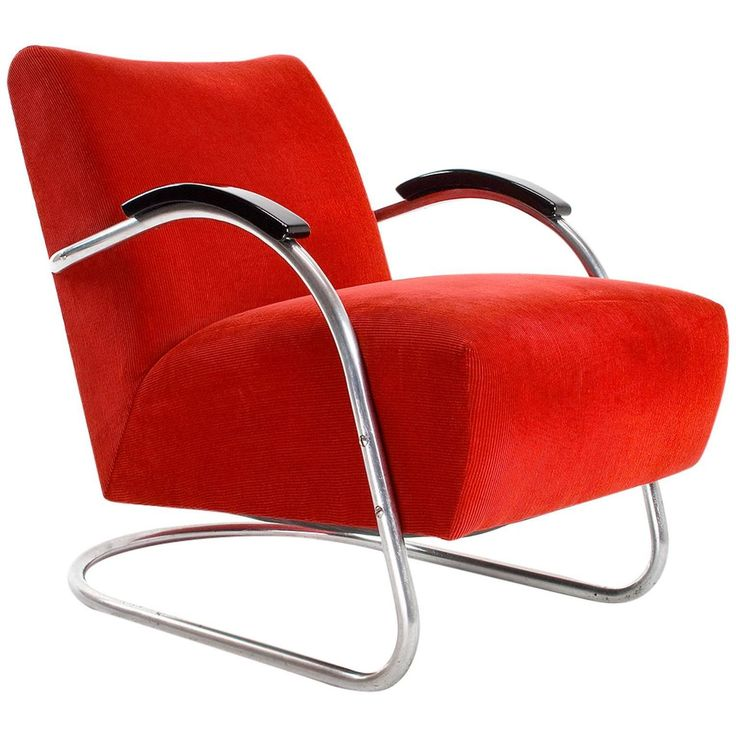 1930s Dutch Tubular Steel Bauhaus Armchair bij Ems 'Overschie, Nl'  | From a unique collection of antique and modern armchairs at https://www.1stdibs.com/furniture/seating/armchairs/