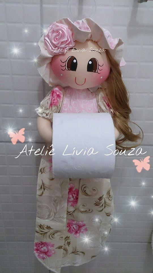 Boneca porta papel 3 rolos  www.facebook.com/AtelieLiviaSouza