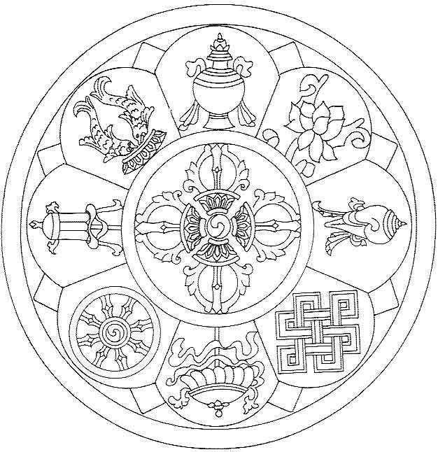 """""""Ce mandala tibétain est appelé mandala du bonheur .  Vous pouvez le colorier des couleurs que vous souhaitez, plutôt de celles dont vous avez besoin (choisissez-les à l'instinct).  En le faisant, centrez-vous en vous-même, afin d'entrer en connexion avec les énergies du dessin et de ses symboles, et de retrouver l'enfant intérieur qui est en vous, l'enfant créatif et inspiré.  Offrez-vous un moment de plénitude rien que pour vous !  Offrez-vous une parenthèse de paix."""""""