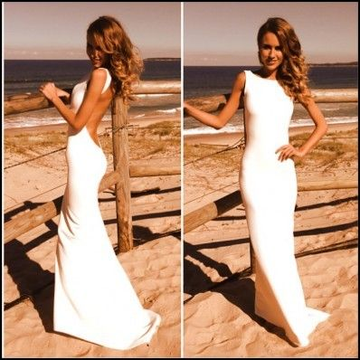 Off-white (with no sequin leaf detail) -- Prefect simple backless wedding dress…