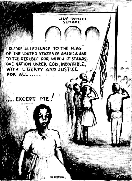 """""""I pledge allegiance to the flag of the United States of America and to the republic for which it stands, one nation under God, indivisible, with liberty and justice for all ...except me""""  Artist: We couldn't locate the name of the artist, but the picture is featured on the back cover of the book, """"In an Era of Wars and Revolutions: American Socialist Cartoons of the Mid-Twentieth Century"""""""