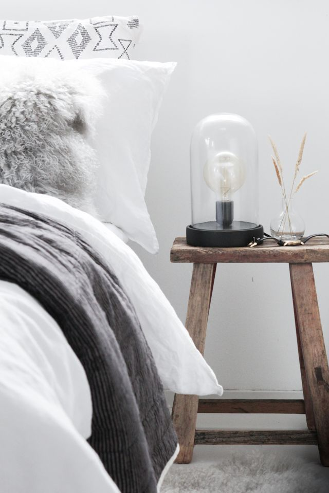 My bedroom ready for autumn. Dome lamp from Nordal (click for full tour). My Scandinavian Home.
