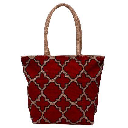 Shop for Maroon Designer Jute Bag Eco Friendly Bags at Utsav Craft