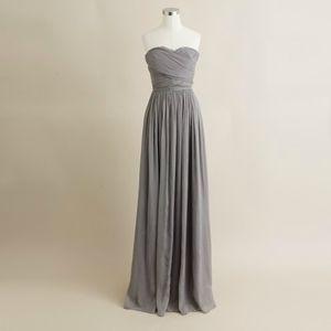 J.Crew Arabelle long dress in graphite silk chiffon