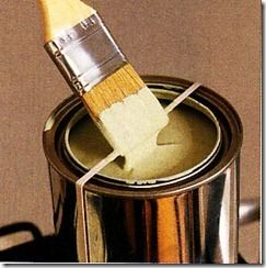 When painting decorative trim and molding and dipping your brush straight into a paint can – do as Martha does.  Place a rubber band around the open can so you can wipe the excess paint off the brush and not the side of the can every time you dip.  This keeps the can's lip clean – no build up of paint to have to clean up.