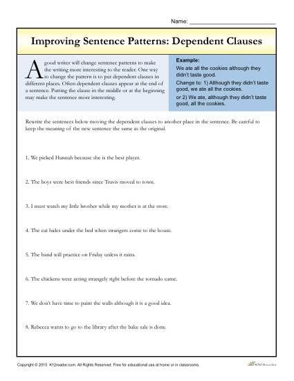 Worksheets Improving Sentence Structure Worksheets 17 best ideas about dependent clause on pinterest sentence improving patterns worksheet activity clauses use this helpful to