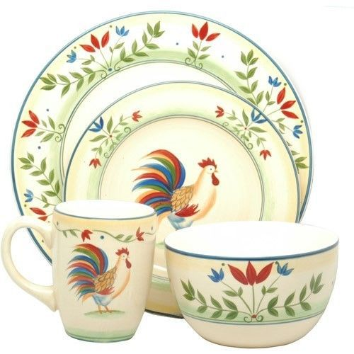Dishware Rooster Set Plates Kitchen Dining Country Chicken