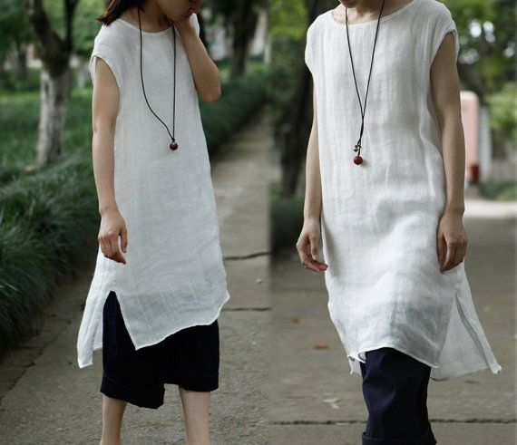 201--- Thin Linen Layered Off-White Tunic / Robe, White Dress, (Excluding inner Slip) , Made to Measure.