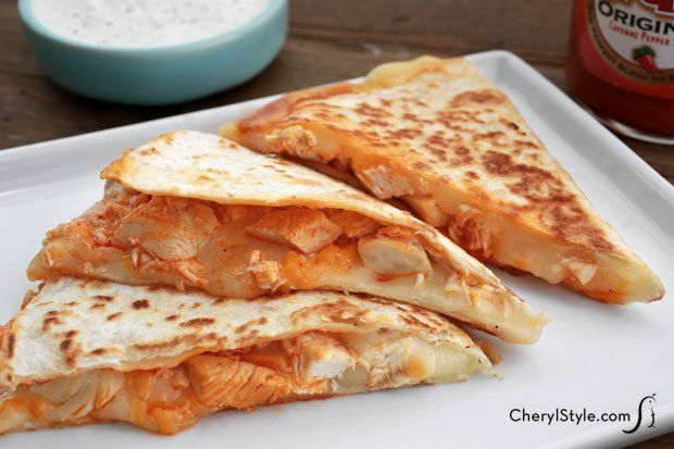 Buffalo chicken quesadillas make a great game day snack!