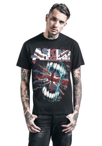 "Classica T-Shirt uomo nera ""UK Flag"" degli #AskingAlexandria."