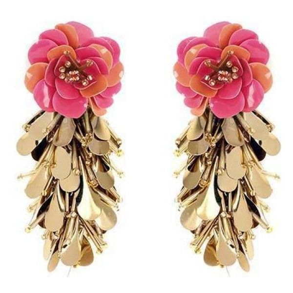 Forest Of Chintz Pink Cha Hua Earrings ($253) ❤ liked on Polyvore featuring jewelry, earrings, pink, floral jewelry, floral earrings, sequin earrings, floral jewellery and sequin jewelry