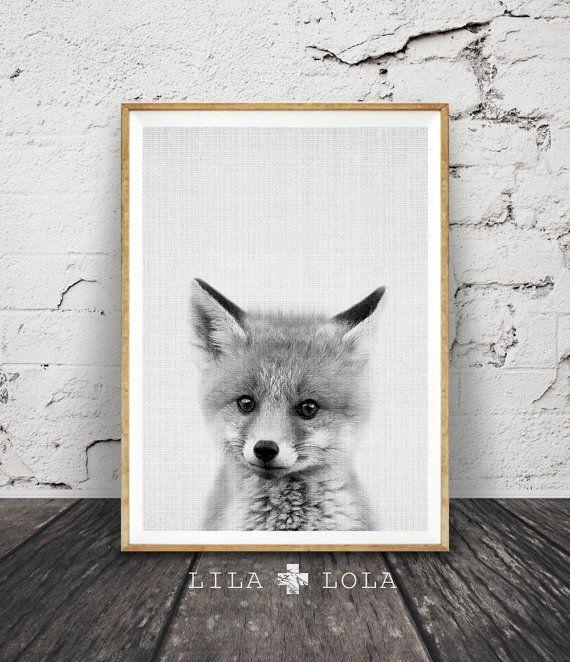 Fox Cub Print Woodlands Nursery Decor Baby Animal by LILAxLOLA