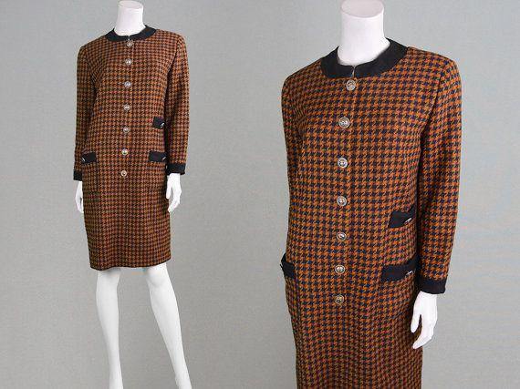 Vintage 80s Houndstooth Dress Brown Tweed Dress by ZeusVintage