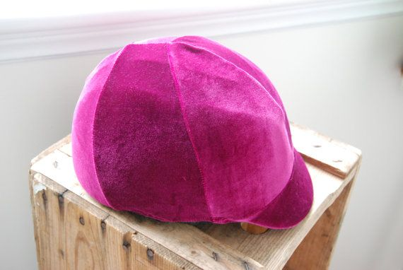 Equine Safety Helmet Cover Velvety Fuschia by TheStitchingHorse