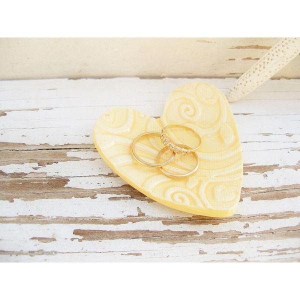 Yellow ring dish small rustic heart dish jewelry holder ceramic... ($6.50) ❤ liked on Polyvore featuring home, home decor, jewelry storage, leaf dishes, ceramic dishes, rustic home decor, heart vessels and lead free dishes