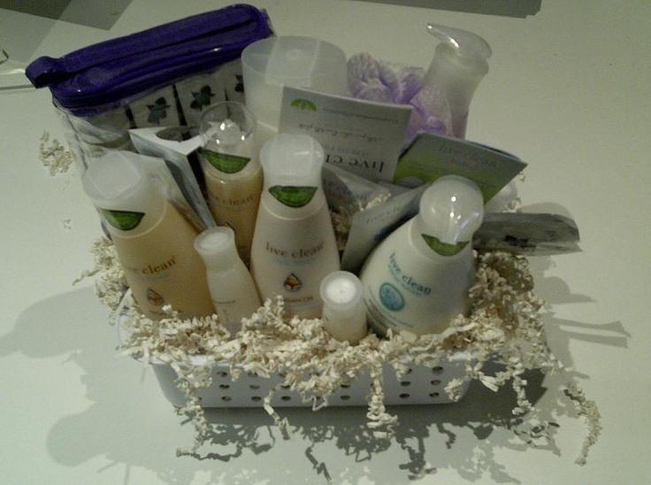 Live Clean: Gift Basket    Bid now: https://www.greenlivingmarketplace.ca/item.cfm?category=1037312605=ch=1038003739    Fresh Face Luxurious Trial and Travel Kit , Argan Shampoo + Conditioner, Argan Leave in Conditioner Spray, Sweet Pea Hand Soap, Fresh Water Body Wash, Fresh Water Body Lotion.