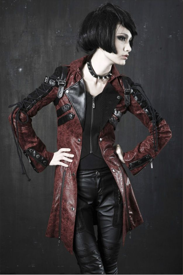 Veste gothique punk lolita steampunk sangles laçages simili cuir rouge mixte