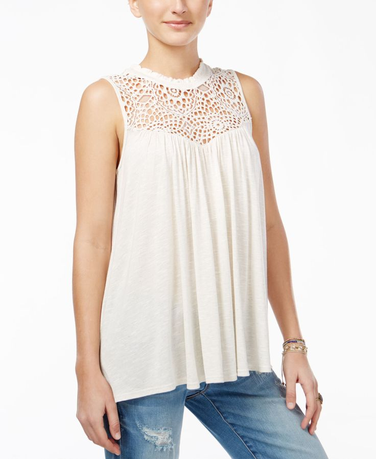 American Rag Juniors' Crocheted Ruffled-Neck Top, Only at Macy's