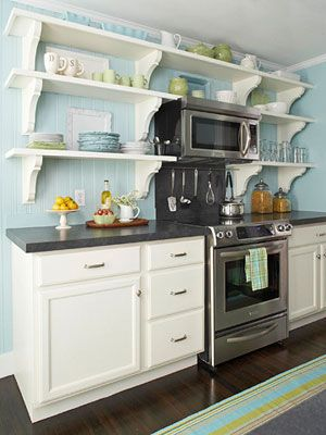 Heart: Cottages Kitchens, Kitchens Shelves, Idea, Open Shelves, Color, Blue Wall, Small Kitchens, Green Kitchens, White Cabinets