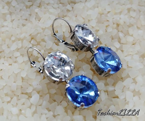 Check out this item in my Etsy shop https://www.etsy.com/ca/listing/589124945/blue-crystal-earringsapphire-and-diamond