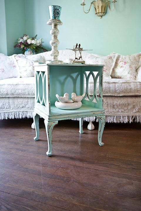 vintage shabby chic nightstand end table distressed aqua blue yellow french country antique cottage via Etsy - for the guestroom of the someday beach house